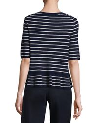 Joie Blue Jayni Striped Ruffle Pullover