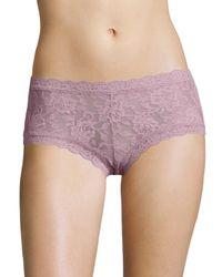 Hanky Panky Purple Women's Lace Boyshort - Sapphire - Size Large