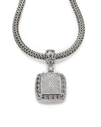 John Hardy Metallic Classic Chain Diamond & Sterling Silver Medium Square Pendant