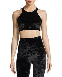 Beyond Yoga Black Crushed Velvet Sports Bra