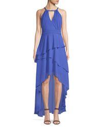 Laundry by Shelli Segal Blue Chiffon Asymmetrical Tiered Gown