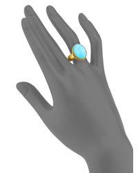 Gurhan - Metallic Amulet Hue Turquoise & 24k Yellow Gold Oval Ring - Lyst