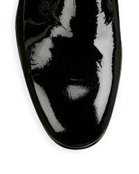 Santoni Black Patent Leather Dress Loafers for men