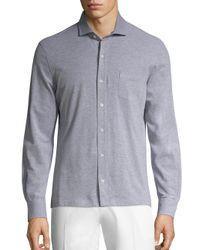 Isaia - Gray Piquet Long Sleeves Polo Shirt for Men - Lyst