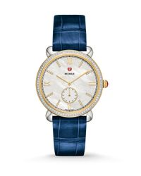 Michele Watches - Blue Gracile Diamond, Two-tone Stainless Steel & Alligator Strap Watch - Lyst
