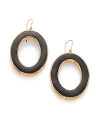 Nest   Black Horn Oval Drop Earrings   Lyst