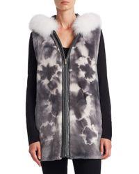 Saks Fifth Avenue - Gray Sheared Fur Vest - Lyst