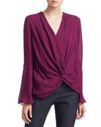 Cinq À Sept Purple Monica Silk Side Knot Blouse