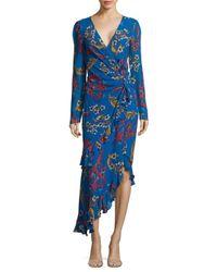 Etro - Blue Silk Floral Ruffle Keyhole-back Dress - Lyst