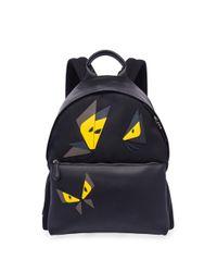 Fendi - Black Butterfly Leather & Tech-twill Backpack for Men - Lyst