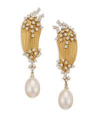Hueb Metallic Plisse Diamond, Pearl & 18k Yellow Gold Drop Earrings