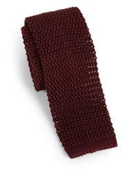 Charvet Red Solid Silk Knit Tie for men