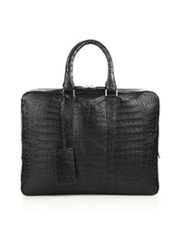 Santiago Gonzalez - Gray Crocodile Slim Briefcase for Men - Lyst