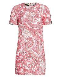 Dolce & Gabbana Pink Short Sleeve Embellished Sleeve Dress