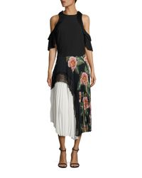 Delfi Collective - Black Clara Floral Lace Pleated Midi Skirt - Lyst