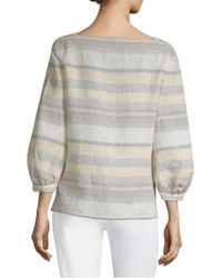 Lafayette 148 New York Multicolor Women's Harper Striped Puff Sleeve Top - Chickpea - Size Xl