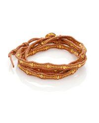 Chan Luu - Metallic Beaded Leather Multi-row Wrap Bracelet - Lyst