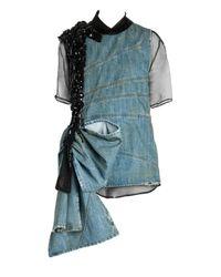 Miu Miu Blue Denim Sleeveless Beaded Mini Dress