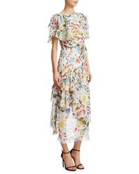 Borgo De Nor White Valeria Hi Low Floral Gown