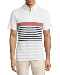 AG Green Label - White Downey Stripe Printed Polo for Men - Lyst