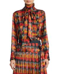 Adam Lippes Red Printed Satin Blouse