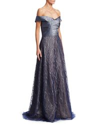 Rene Ruiz - Blue Off-the-shoulder Gown - Lyst