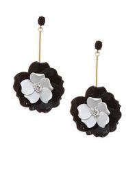 Oscar de la Renta - Black Petunia Drop Earrings - Lyst