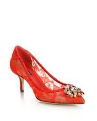 Dolce & Gabbana - Red Embellished Lace Point Toe Pumps - Lyst