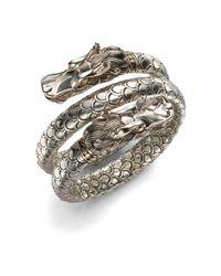 John Hardy Metallic Naga 18k Yellow Gold & Sterling Silver Dragon Head Double Coil Bracelet
