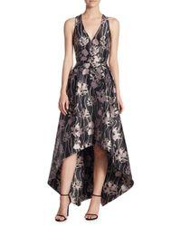 ML Monique Lhuillier Black V-neck Jacquard High-low Dress