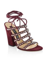 Sergio Rossi Brown Elettra Studded Suede Block Heel Sandals