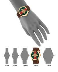 Gucci - Metallic G-timeless Embroidered Bee Goldtone Stainless Steel & Leather Strap Watch - Lyst