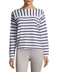 Eileen Fisher White Heathered Striped Sweater