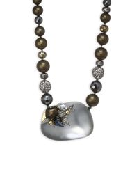 Alexis Bittar - Gray Lucite Beaded Faux Pearl & Crystal Strand Necklace - Lyst