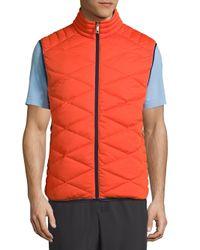 Vilebrequin Orange Frais Reversible Packable Quilted Vest for men