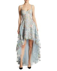 Notte by Marchesa Blue Embroidered Tulle Hi-lo Gown
