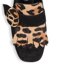Prada Black Suede & Leopard-print Calf Hair Kiltie Pumps