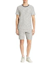 Madison Supply - Blue Striped Knit Cotton Shorts for Men - Lyst