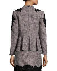 Rebecca Taylor Black Slub Lace Inset Jacket