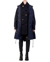 Sacai Blue Two-tier Wool & Nylon Oxford Coat