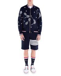 Thom Browne Blue Tennis-print Cotton Bomber Jacket for men