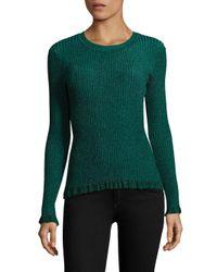 MILLY | Green Italian Crewneck Sweater | Lyst