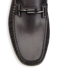 Tod's Gray Leather City Gommini Drivers for men