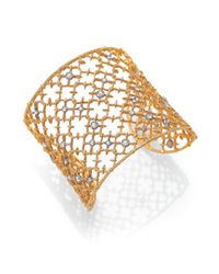 Alexis Bittar - Metallic Elements Gilded Muse Crystal Studded Lace Cuff Bracelet - Lyst