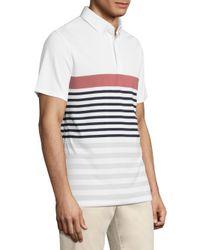 AG Green Label - White Downey Stripe Printed Polo for Men - Lyst