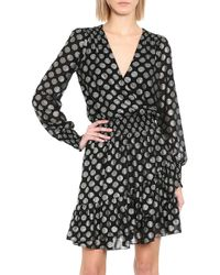 MICHAEL Michael Kors Black Polka Dot Ruffle Wrap Dress