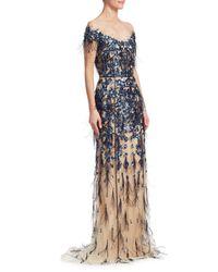Pamella Roland Metallic Women's Sequin Off-the-shoulder Crystal-embellished Gown - Sapphire