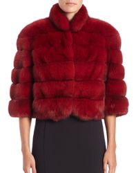 Saks Fifth Avenue - Red Cropped Sable Fur Jacket - Lyst