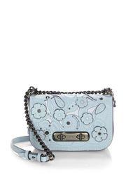 COACH Blue Swagger Flower Leather Crossbody Bag