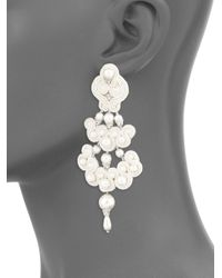 Tory Burch - Metallic Beaded Chandelier Earrings - Lyst